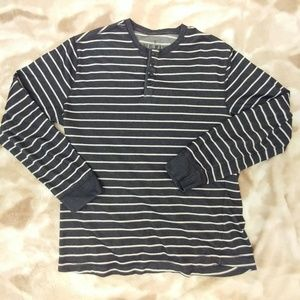 Old Navy Grey & White Stripe Hanley Shirt -  L